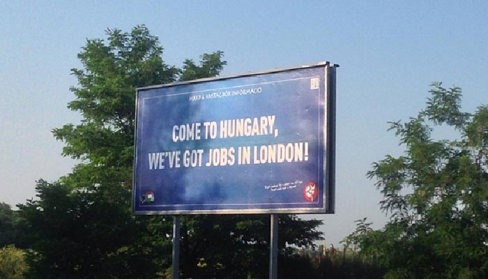 """""""Come to Hungary, We've got jobs in London!"""" """"Paks2? State security archives?"""" Source: hvg.hu"""