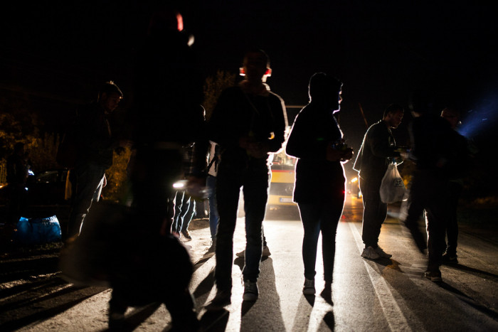 Buses continued to deliver refugees to Horgos from other parts of Serbia late into the night  Photo: Márton Magócsi