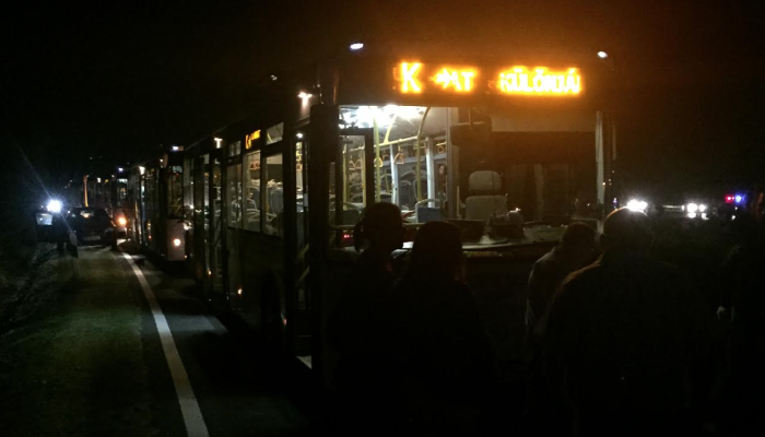 Buses arrive to transport asylum seekers to Austria.