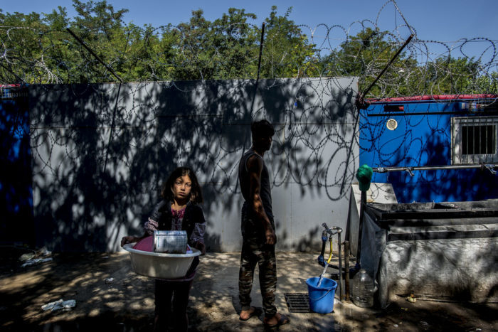 The camp is situated before the transit zone on the Hungarian border. Many have been waiting there for months to enter the transit zone and apply for asylum. Hungarian authorities admit only 15 people per day. On the Hungarian side there is only one water tap. Photo: D. András Hajdu