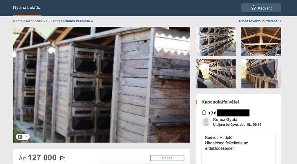 Company tied to Fidesz MP is selling rabbit cages it had purchased with EU funds