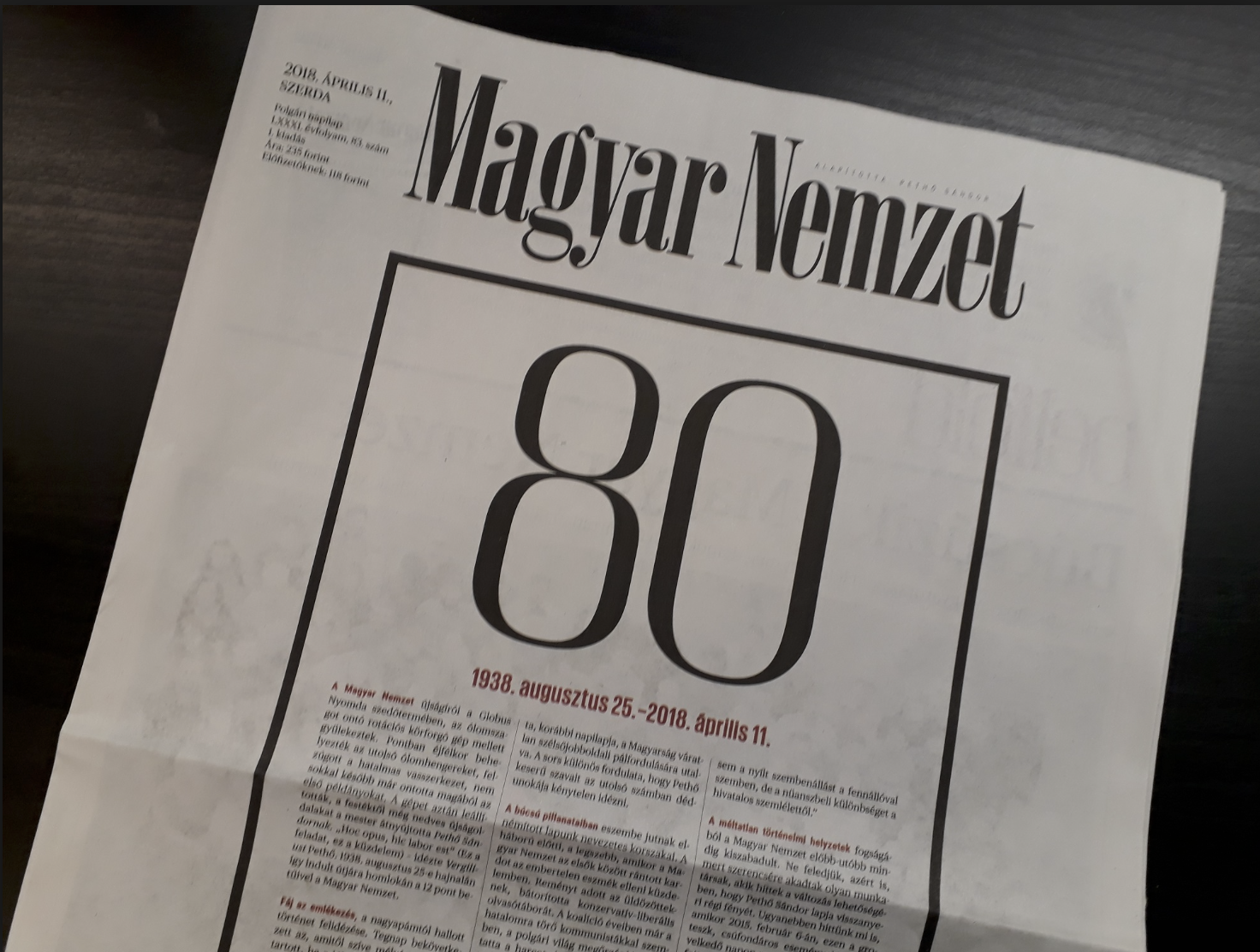 Hungarian conservative daily Magyar Nemzet appears for the last time