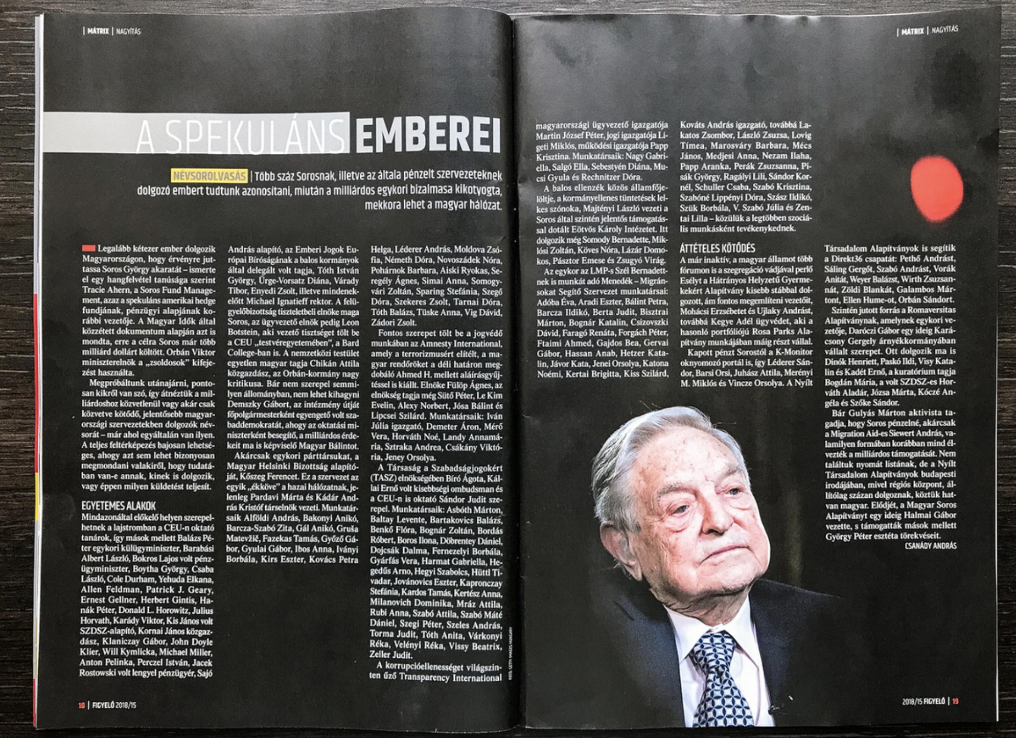 """Pro-Fidesz print weekly, Figyelő, publishes list of Soros """"mercenaries"""""""